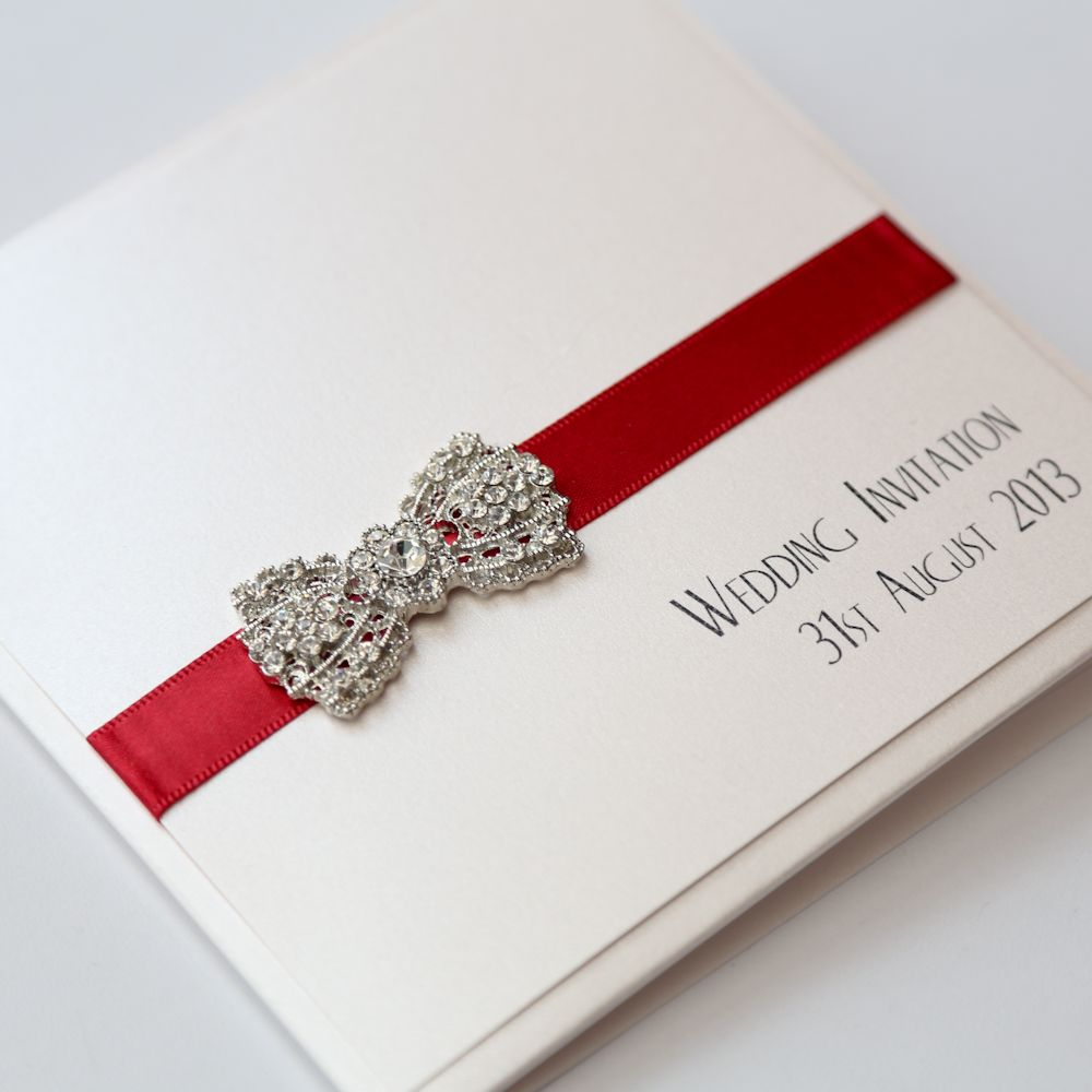Art Deco Bow Pocket Invitation in Red and Ivory | Art Deco Wedding ...