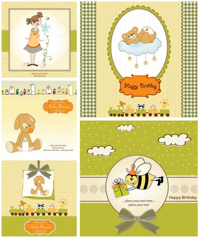 Birthday greetings card templates vector Free Vector Graphic - birthday card templates free