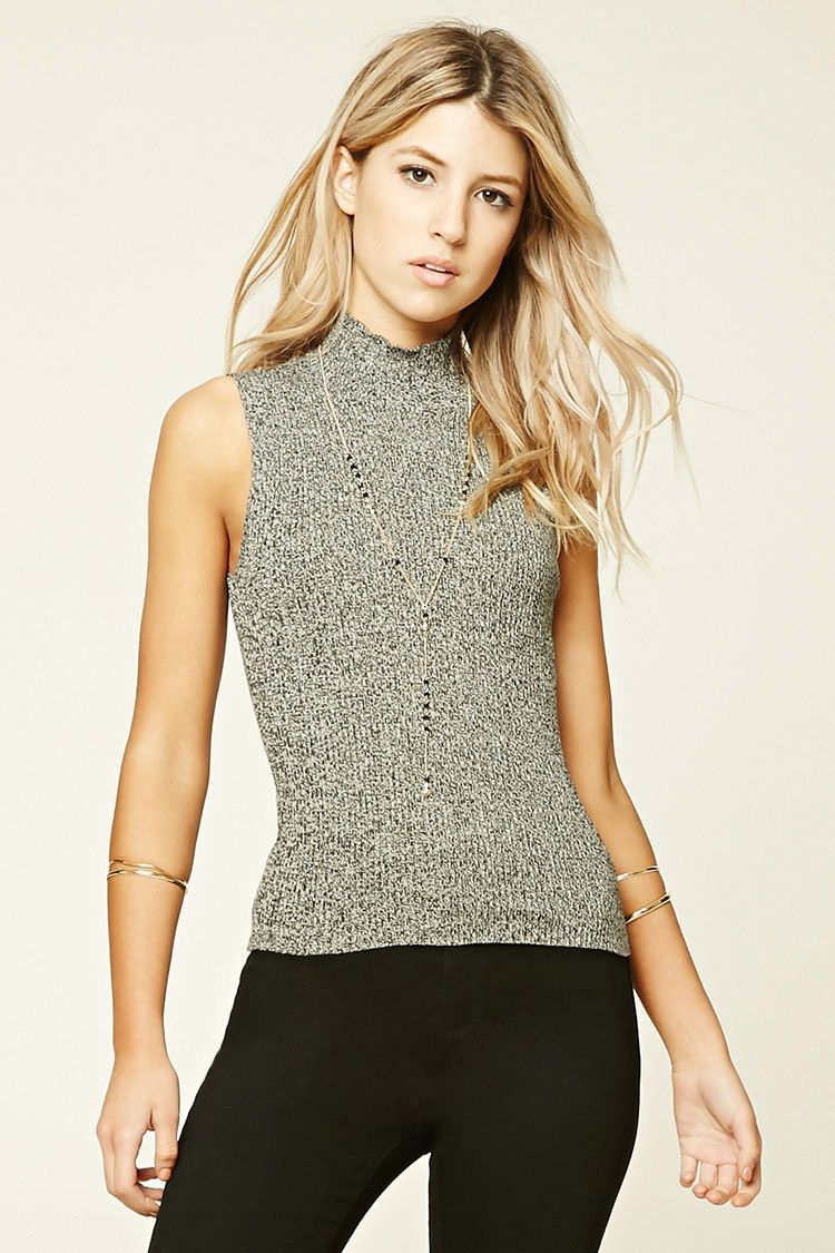 Marled High Neck Top
