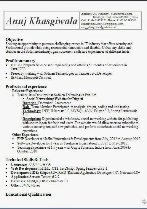 Best Resume Template Sample Template Example Of Excellenr