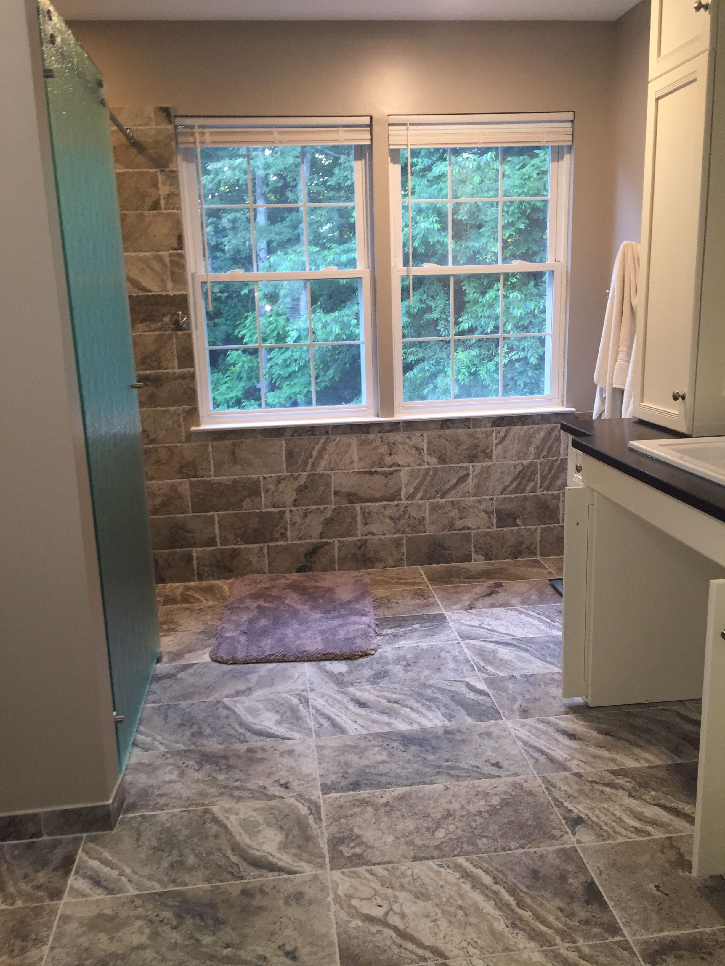 Wheelchair Accessible Bathroom With Custom Vanity And