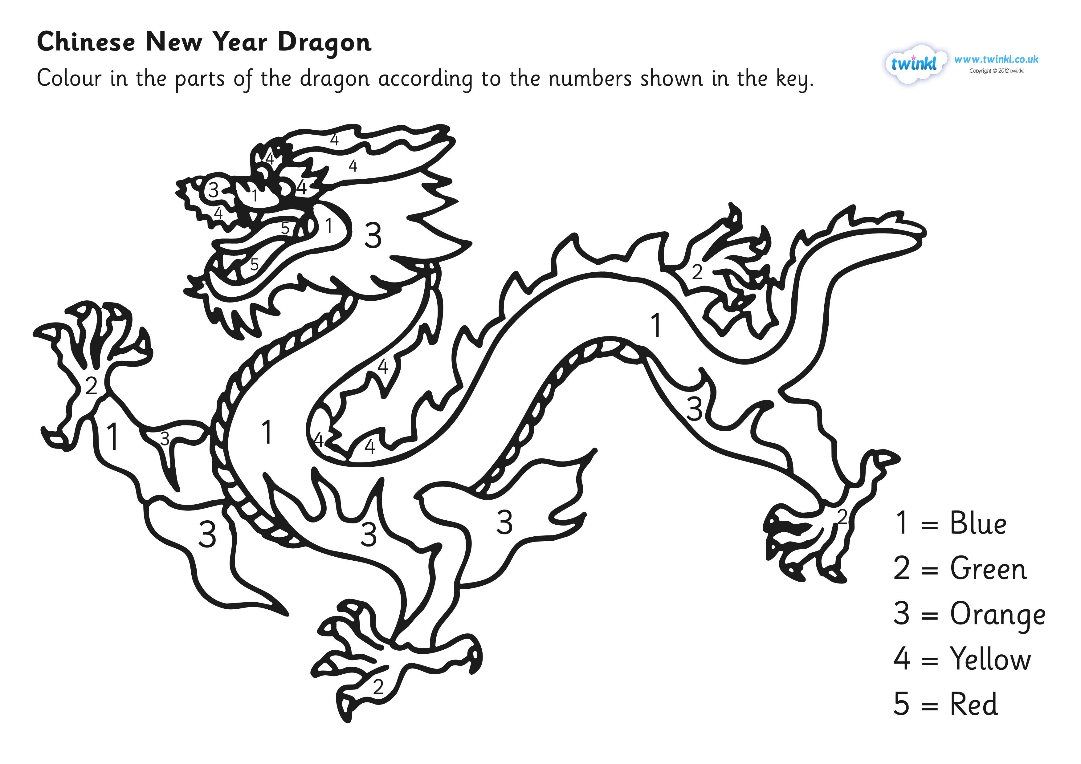 Chinese Dragon Colouring By Numbers Sheet