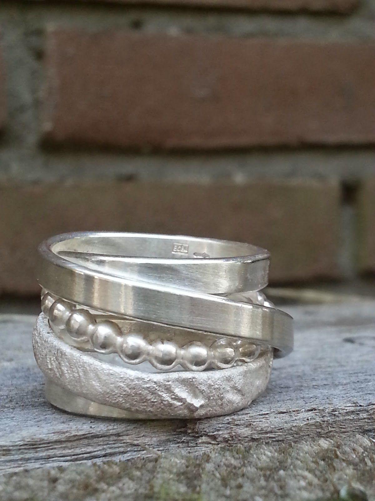 Wonderlijk 160. Brede aparte bijzondere trouwringen van zilver. (met FF-23