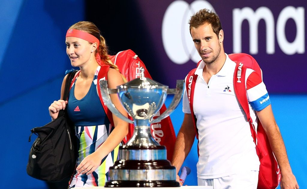Kristina Mladenovic and Richard Gasquet walk past the Hopman Cup before the mixed doubles match against Coco Vandeweghe and Jack Sock during the 2017 Hopman Cup Final at Perth Arena. Picture: Paul Kane/Getty Images.
