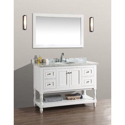 "Ari Kitchen & Bath Cape Cod 48"" Single Bathroom Vanity Set with Mirror"