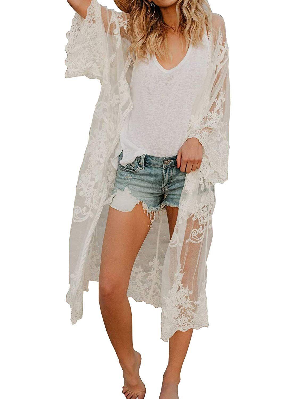 8b490cadef $17.99 white Meshieyla Lace Crochet Kimono Women's Beach Hollow Cover up  Long Cardigan Swimwear Beachwear (White, One Size) at Amazon Women's  Clothing store ...