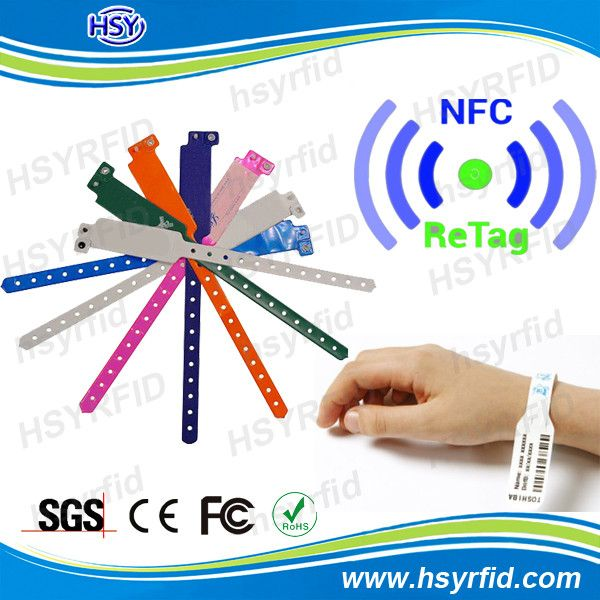 HSY new design 13.56mhz Moblie phone e-payment NFC Rfid Wristband