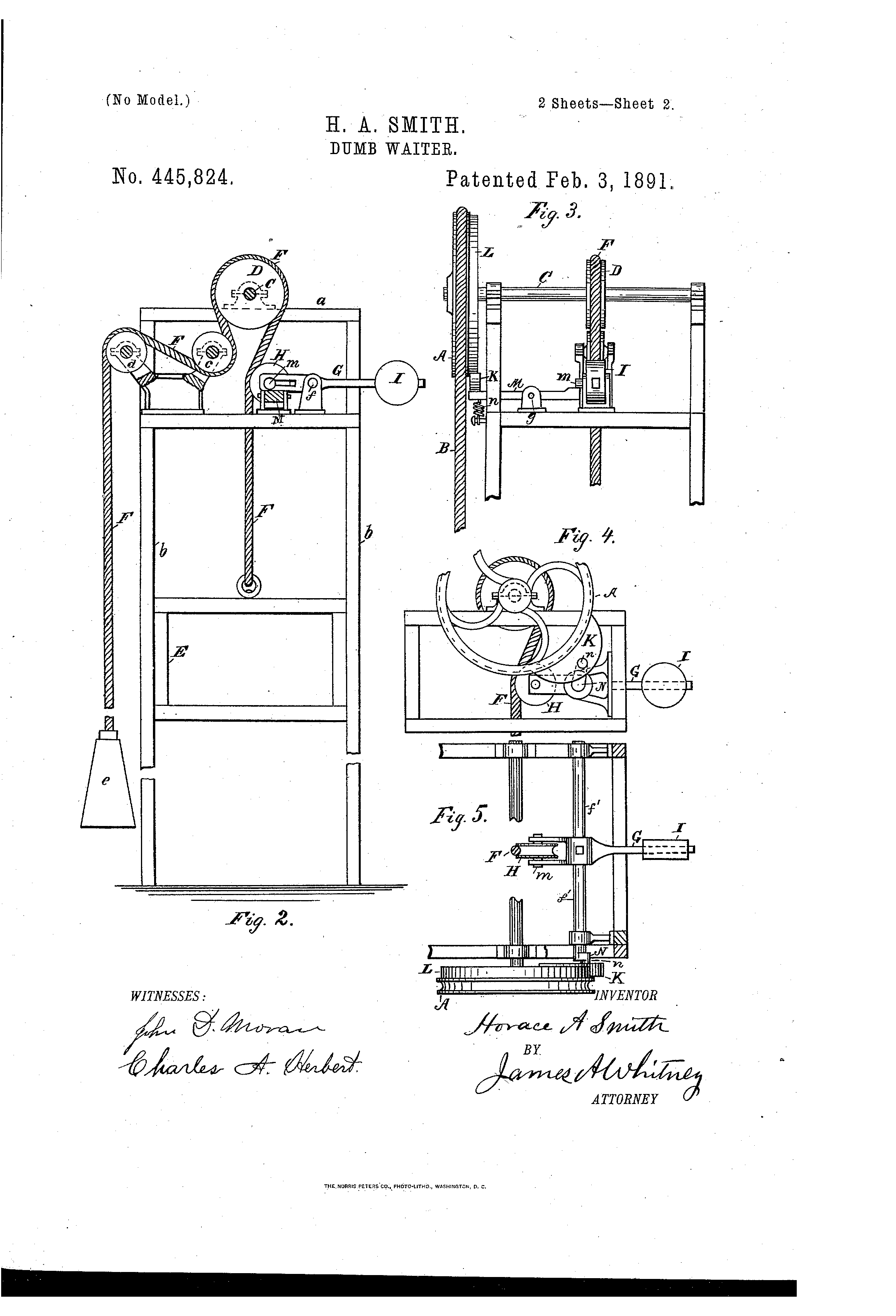 Us445824a Dumb Waiter Patent Drawing Dumb Waiter House Elevation