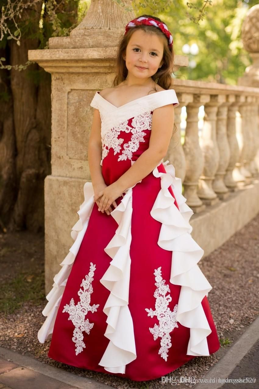 Red And White Flower Girl Dresses For Wedding Vintage Off