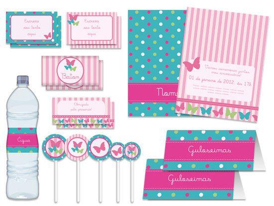 Festa Padrão - Borboletas verde e rosa - Tuty - Arte & Mimos - 237B7