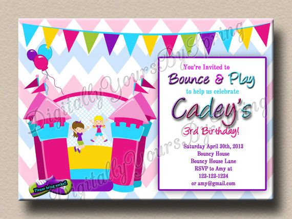 Customize this fun kids bouncy house themed birthday invitation for printable bouncy house birthday party by digitallyursbyspring stopboris Image collections