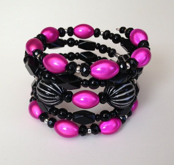Stunning Black Silver and Fuscia Custom by PeacocksandLeopards, $28.00