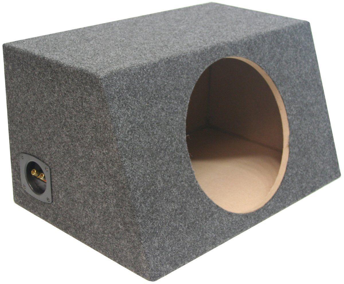 Asc Single 12 Subwoofer Sealed Universal Fit Angled Hatch Sub Box Speaker Enclosure Dimensions Width 22 1 4 Subwoofer Box Design Diy Subwoofer Box Subwoofer