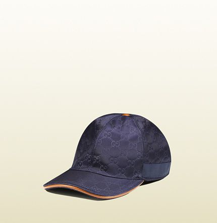 d5eb1052f GG pattern baseball hat with web detail navy blue leather | Haute ...