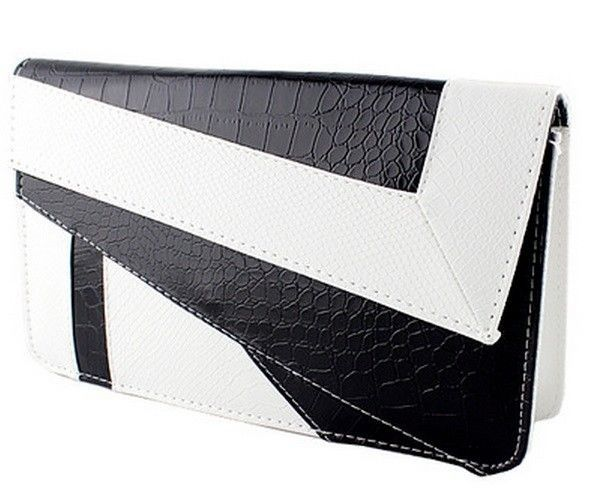 Cool Wallet Black & White Faux Fake Snake/Crocodile Leather Clutch Bag Purse #Unbranded #Clutch