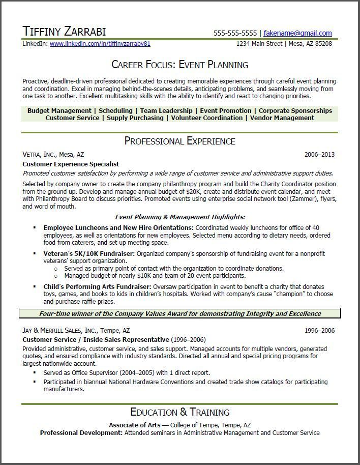 Events Coordinator Resume Inspiration Event Planner Resume  Event Planner Resume Career Transition .