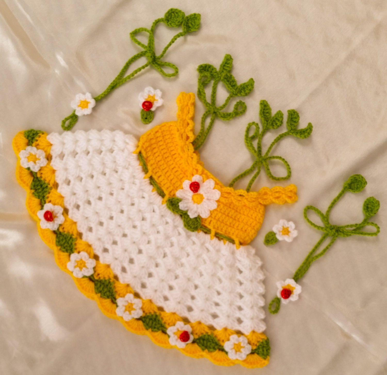 Daisy baby dress crochet pattern by CUTENCUDDLYOUTFITS on Etsy