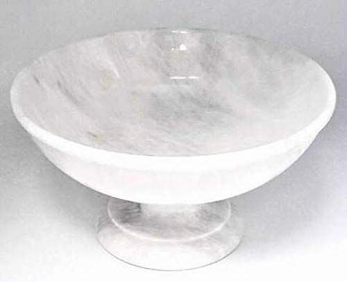 Great For Khan Imports Large White Marble Fruit Bowl Decorative Stone Centerpiece Bowl On Pedestal 12 Inch Home Decor 2 Stone Decor Centerpiece Bowl Bowl