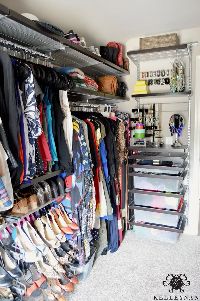 Captivating Closet Organization With Elfa System From The Container Store  Organized  Clothes For His And Hers, Shoe Racks, Tie Rack, And A Jewelry Station.