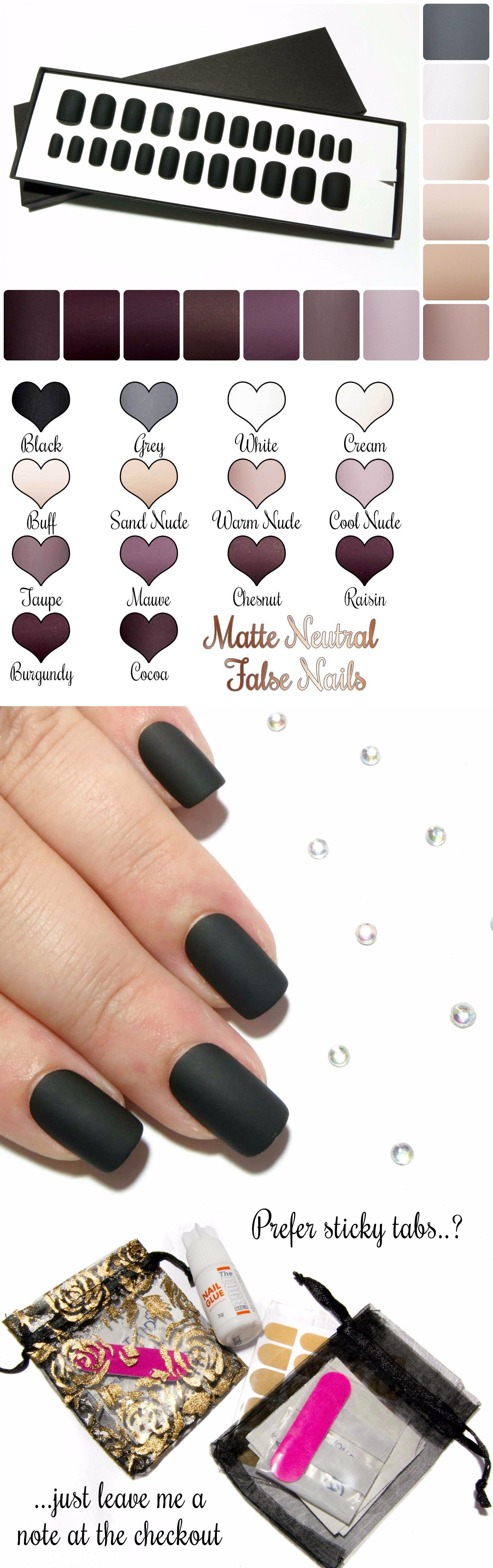 Press-On Nails: Matte Black Nude White Full False Nails Hand Painted ...