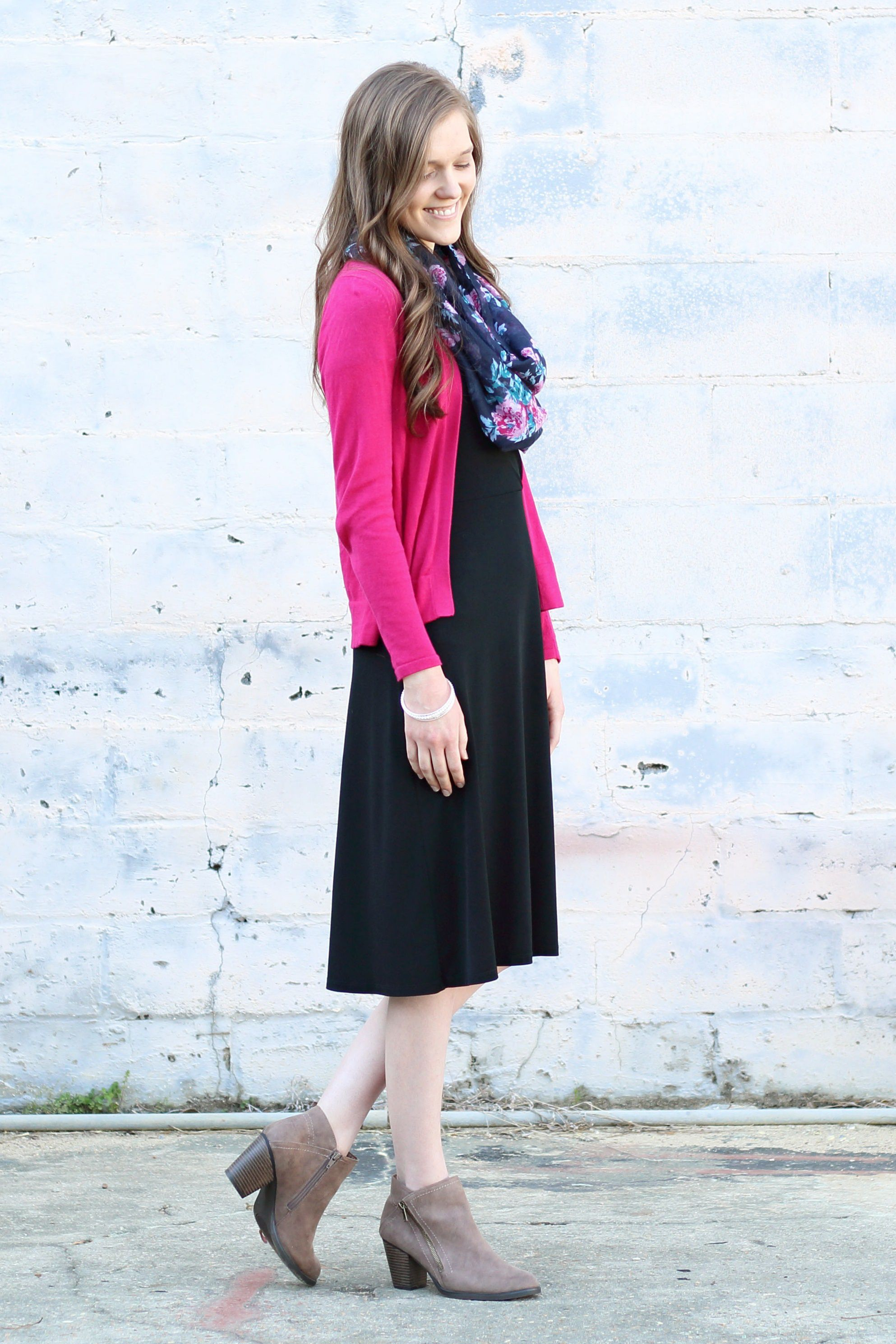 e1009bcf32f Modest Outfit Idea for Church  Ankle Boots  Black Dress  Floral Scarf  Pink  Cardigan  Fall Style Inspiration  Classy  Comfy  Feminine  Modern  Cute