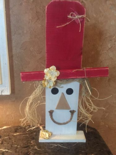 This Is A Handmade Wooden Scarecrow Made From A Privacy Fence Slat