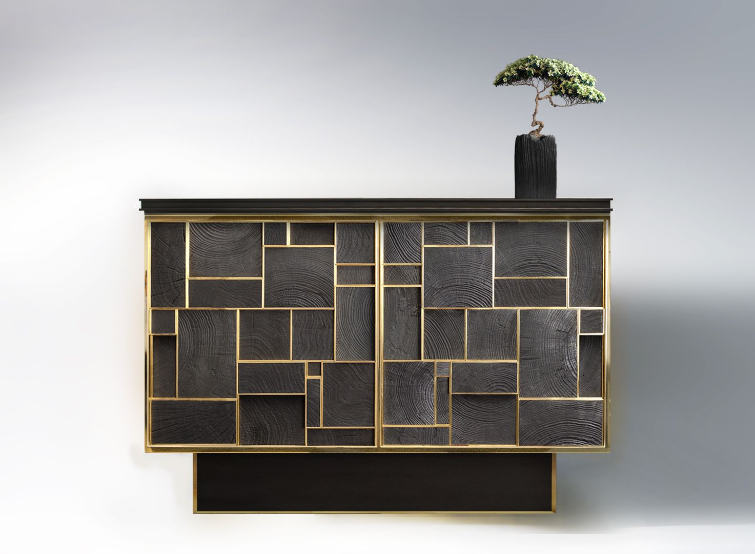 phoenix buffet bronze charred wood versace home