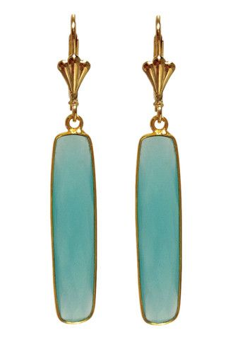 New #Hand-made #Aqua #Chalcedony  #Earrings by #Teramasu   Long Blue Chalcedony Gold Filled Earrings - Teramasu $129.95 http://www.teramasu.com/products/long-blue-chalcedony-gold-filled-earrings
