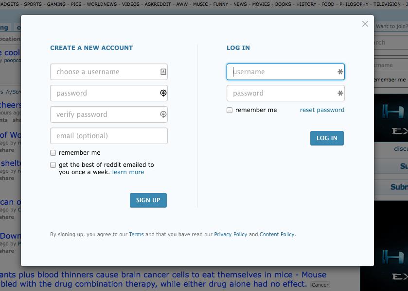 Login/Register signup modal form from reddit com | Menagerie of Web