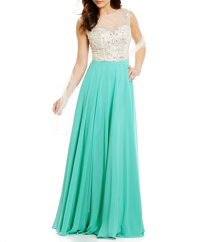 b4aa3365db9 Coya Collection Illusion Beaded Bodice   Back Gown