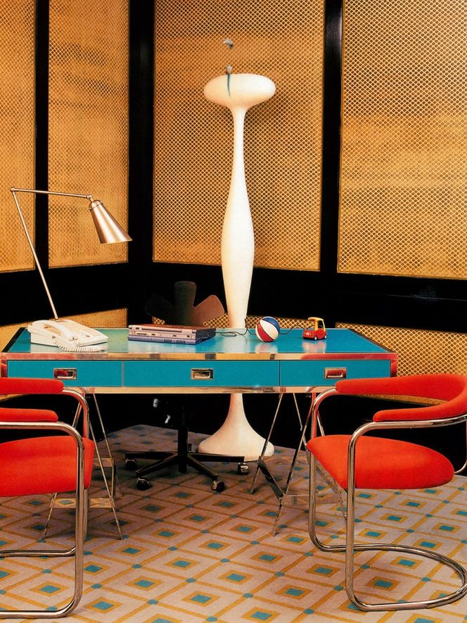 Turquoise Albrizzi desk & red chairs