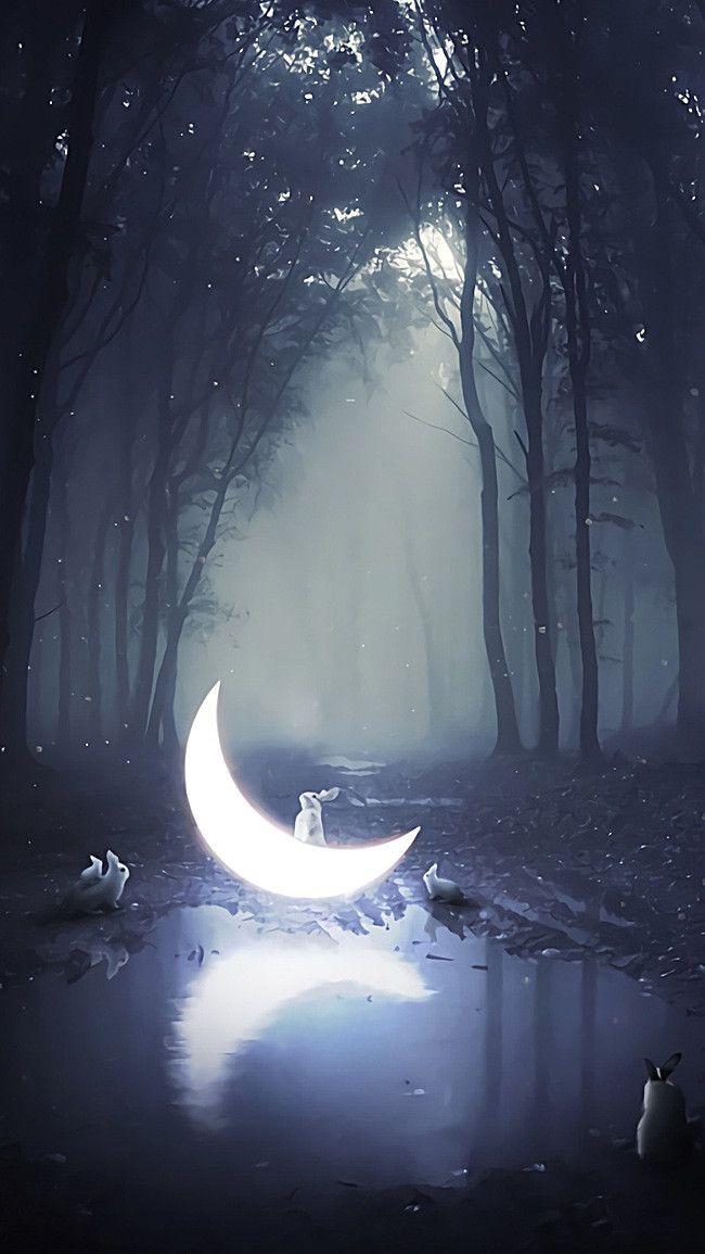 林の下に月のウサギイラストH5背景