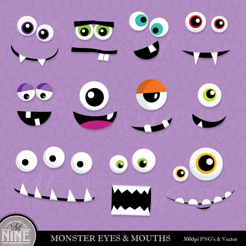 monster eyes mouths clip art digital clipart instant download rh pinterest com Monster Face Clip Art Monster Mouth Clip Art