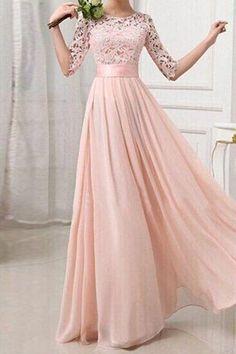 Rosa Damen Langarm Spitze Maxikleid Lange Abendkleid Elegante Brautjungfern Kleider Günstig Lange Kleider Brautjungfern Kleider Abendkleid