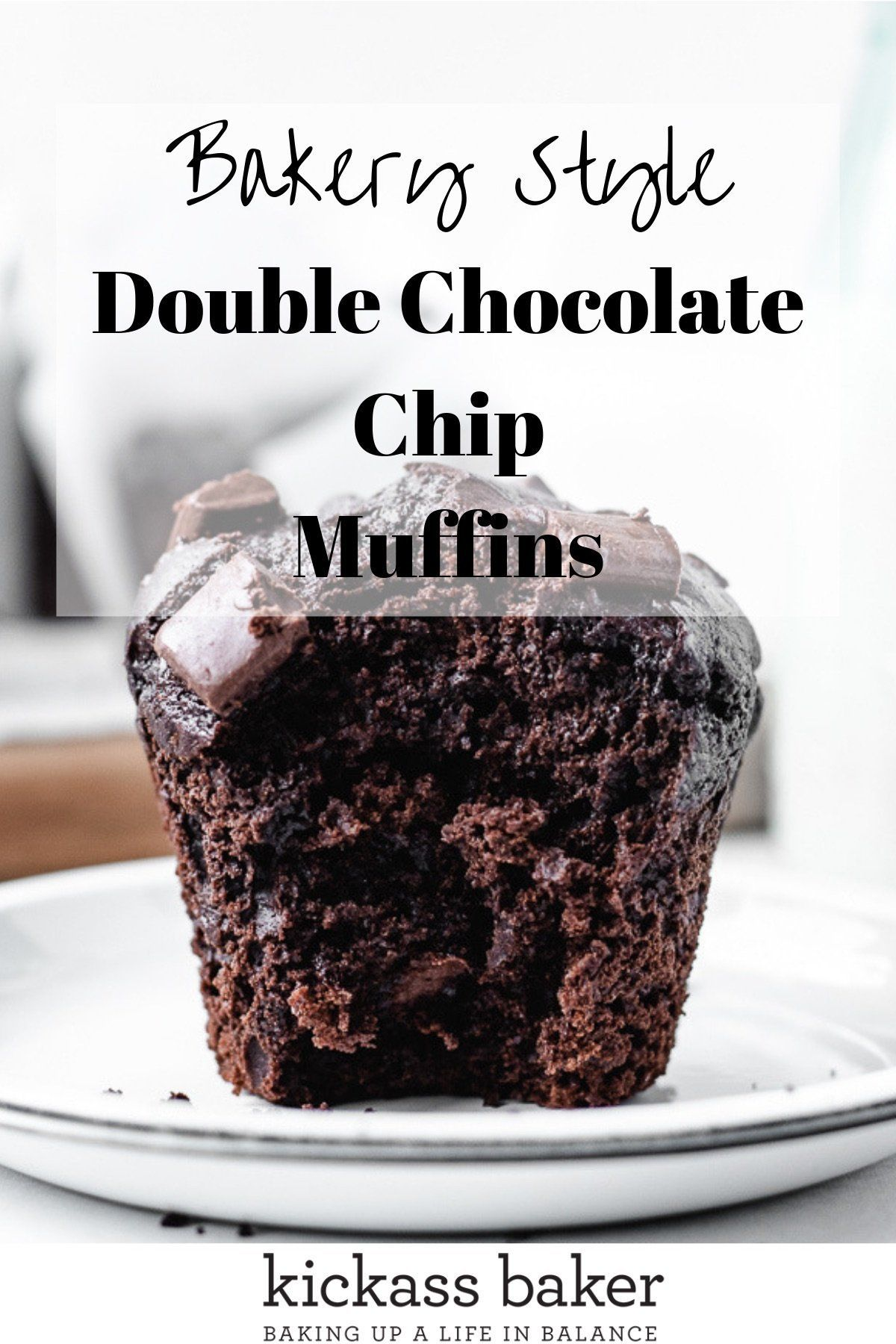 Bakery Style Double Chocolate Chip Muffins | kickassbaker.com #doublechocolatemuffins #moistchocolatemuffins #muffinsrecipe #chocolatechipmuffins #bakerystylemuffins #nutfreemuffins