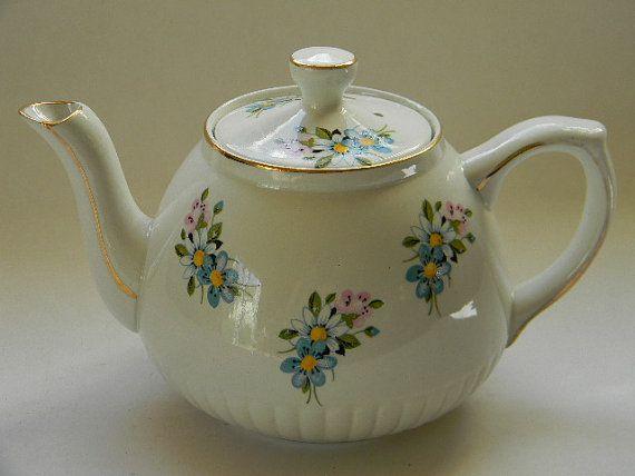 Vintage Ellgreave Ironstone Teapot by TreasuresFromMaine on Etsy