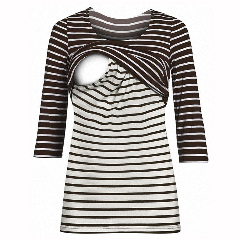 893130091e2e3 breastfeeding accessories - ILUCI Mom Maternity Nursing Tops Striped TShirt  With Easy Breastfeeding Openings Pregnant 3/4 Sleeve Tops Blouse Coffee M  >>> ...