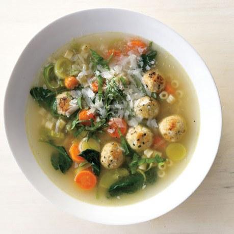 Spring Minestrone with Chicken Meatballs Recipe