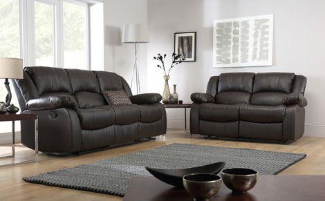 Dakota Leather Recliner Sofa Suite 3+2 Seater   Brown