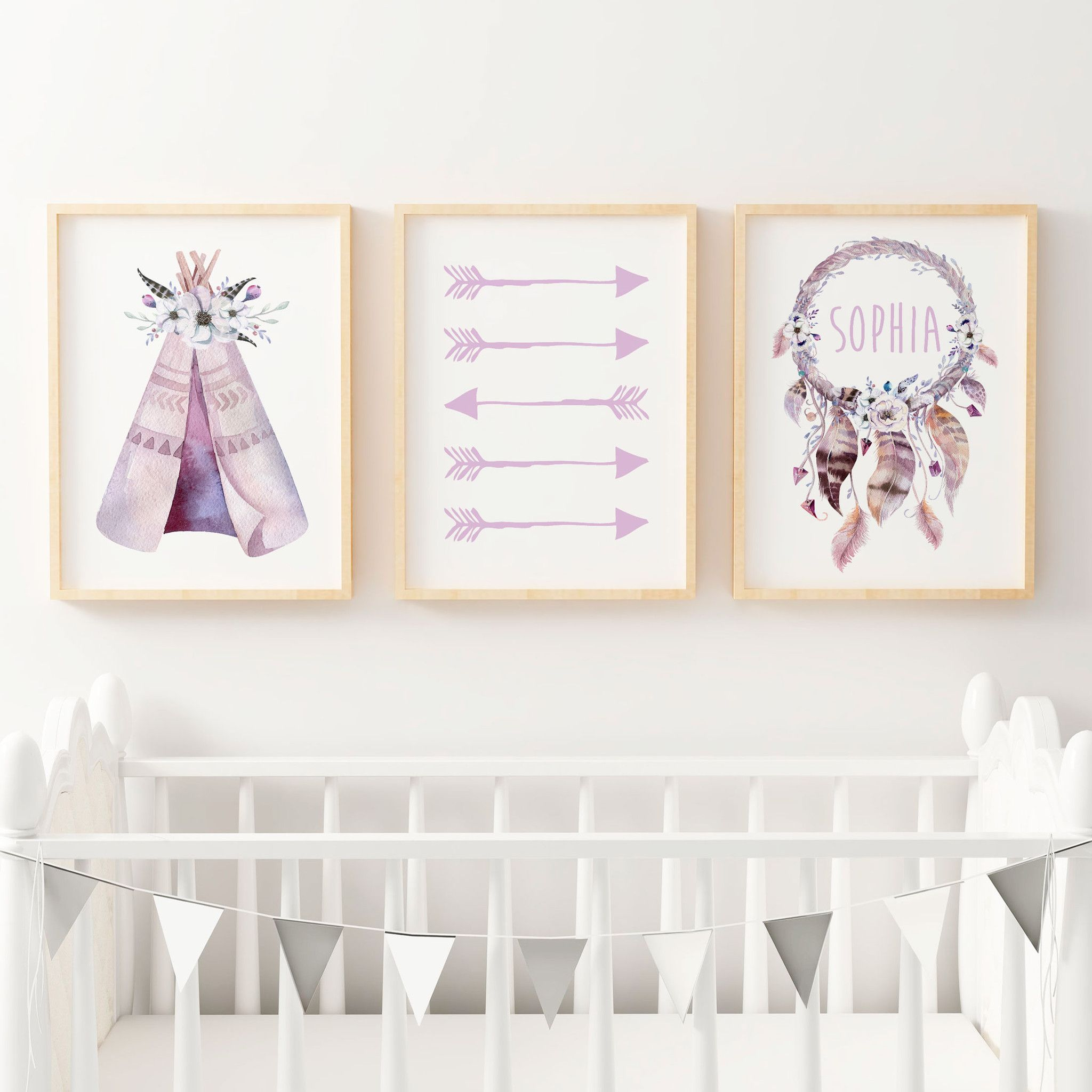 Baby, Girls Boho Tribal Nursery Or Bedroom Wall Art Decor