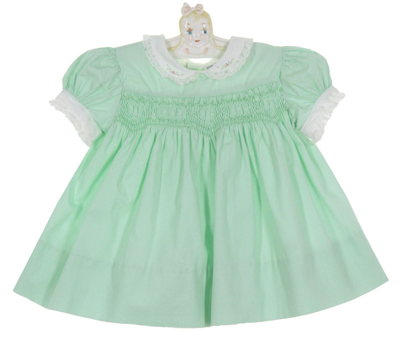 0ea264fbc697 Vintage 1950s Polly Flinders Green Cotton Smocked Dress with Delicately  Embroidered White Collar $50.00