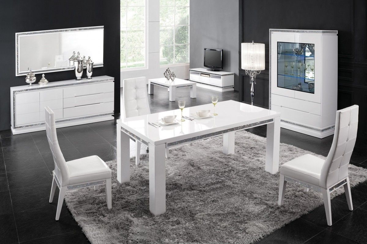 Table Manger 160 Cm Design Blanc Laqu Avec Strass Tresor  # Meuble Strass