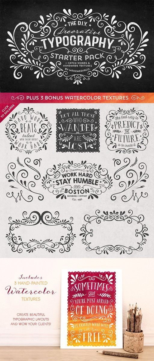 DIY Decorative Typography Pack by MakeMediaCo. on Creative Market ...