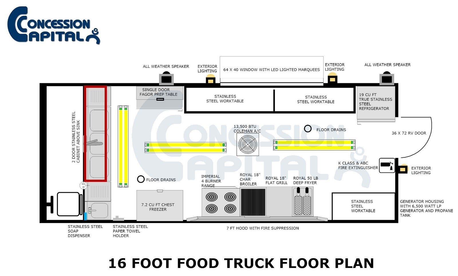 18 foot food truck floor plan step vans pinterest for Food truck design plan