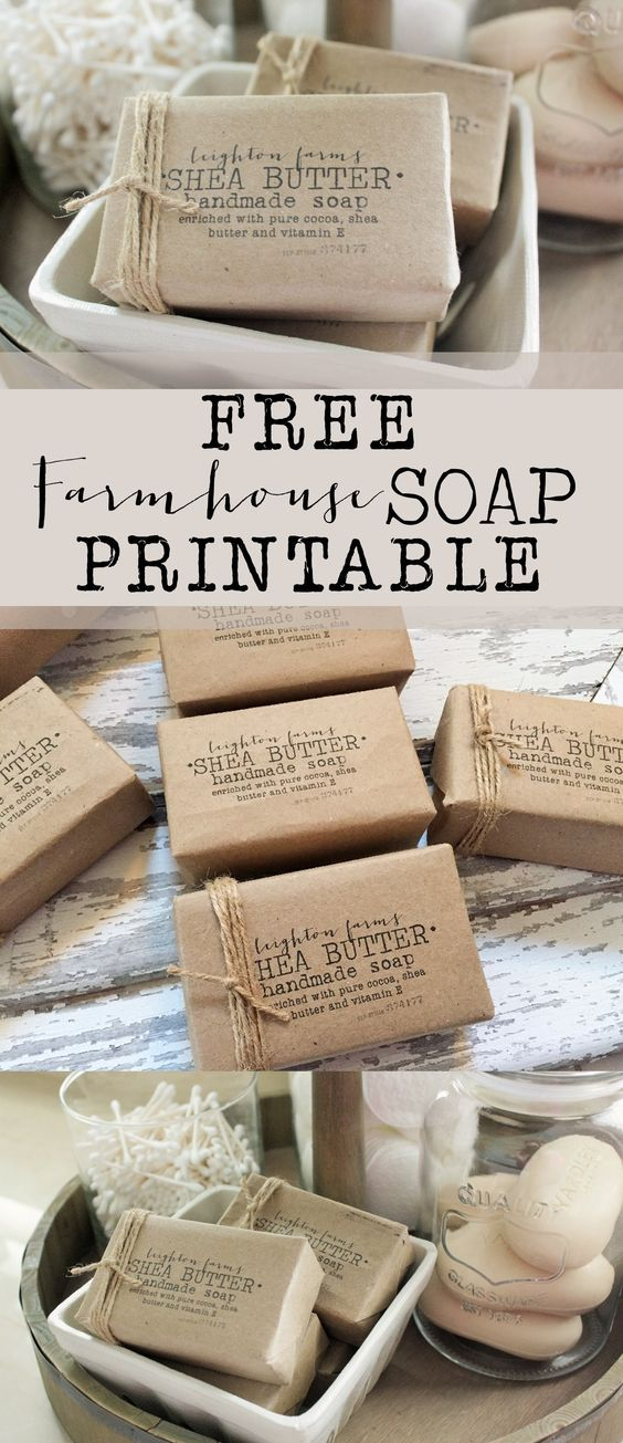FREE Farmhouse Soap Printable - House of Hargrove Make your own farmhouse/vintage soap label with this free printable! Soap is from the dollar store!
