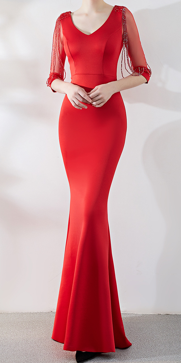 Hot Red Long Tight Maxi Evening Dress Stunning In 2021 Evening Dresses With Sleeves Red Dress Women Evening Dresses [ 1257 x 628 Pixel ]