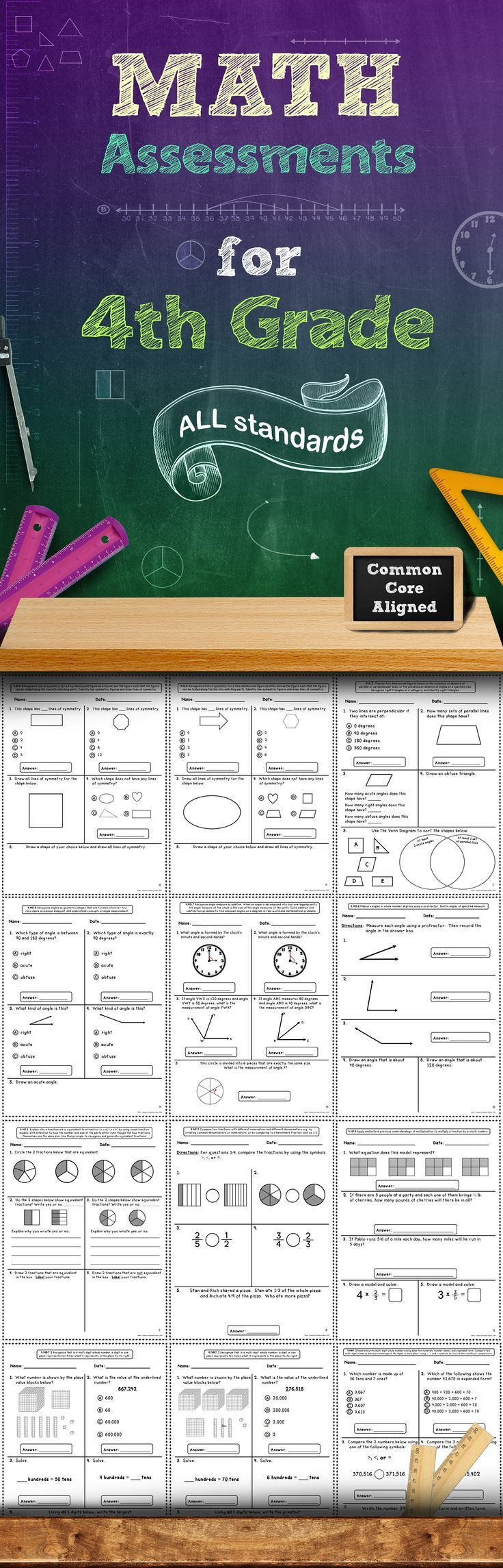 Common Core Math Assessments - 4th Grade | Mathematik und Mathe
