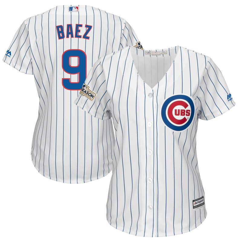 643011d4615 Javier Baez Chicago Cubs Majestic Women s 2017 Postseason Cool Base Player  Jersey – White