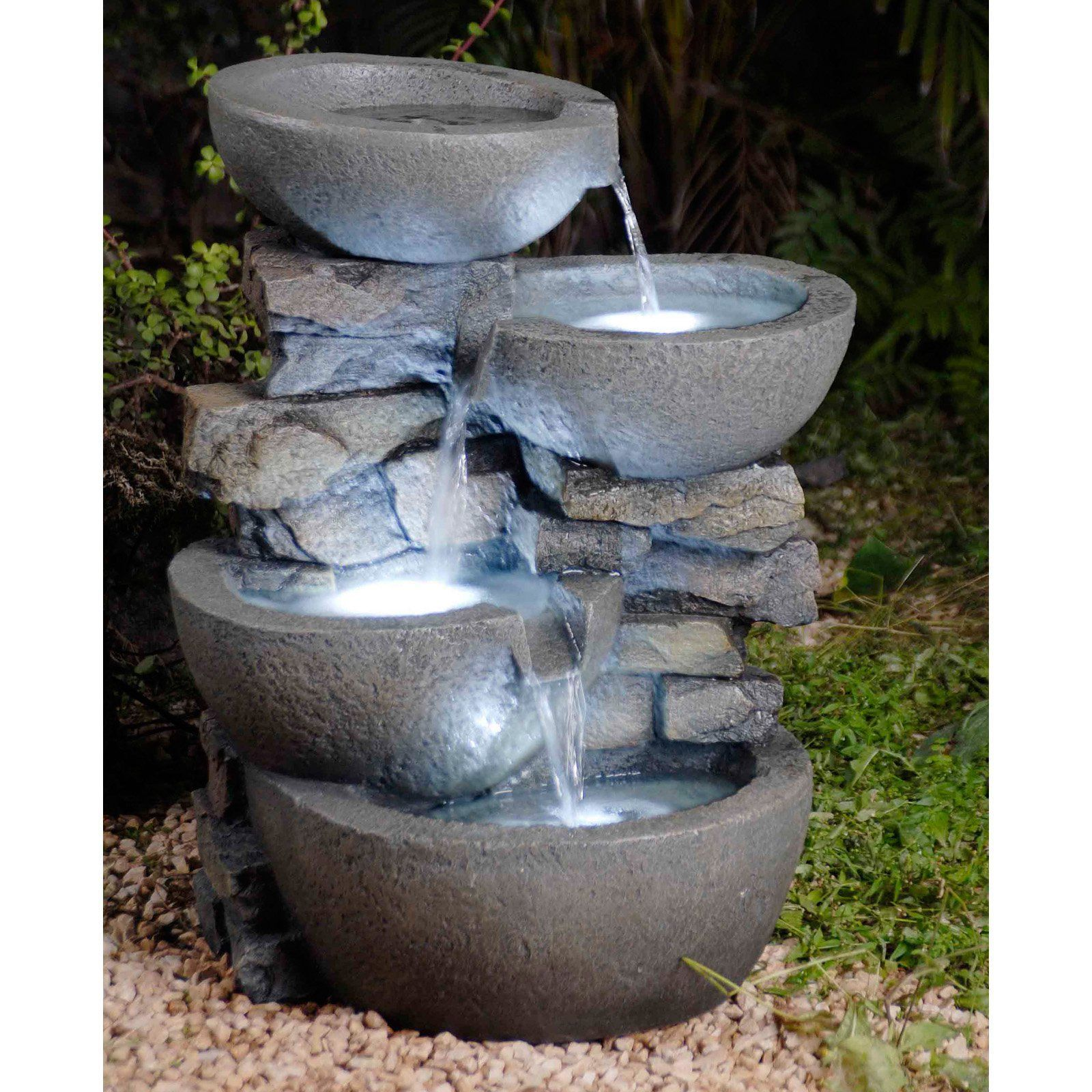 Jeco Modern Bowls Outdoor Fountain with Led Lights About Jeco