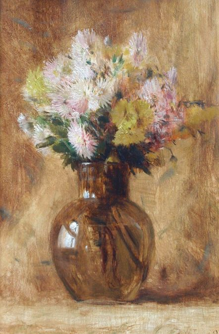 """Chrysanthemums,"" Dwight William Tryon, 1890, oil on pane, 19 1/2 x 12 3/4"", The Cooley Gallery."